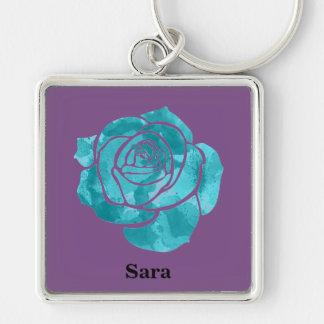 Blaue Rose auf Lila Schlüsselanhänger