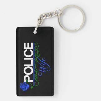 Blaue Rose POLIZEI-EHEFRAU Schlüsselkette Schlüsselanhänger