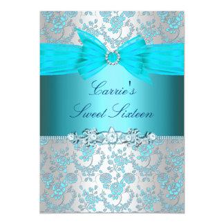 Blaue Rose u. Bogen 16. Geburtstag laden ein 12,7 X 17,8 Cm Einladungskarte
