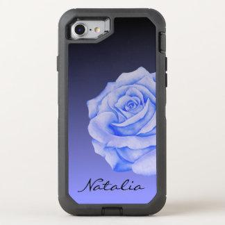 Blaue Rosen-Blume Ombre schwarzes personalisiertes OtterBox Defender iPhone 8/7 Hülle