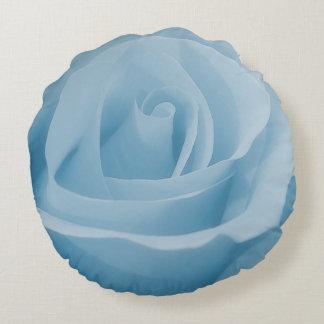 Blaue Rosen-Blüte Rundes Kissen