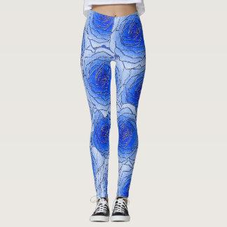 Blaue Rosen-Entwurfs-Gamaschen Leggings