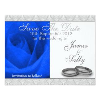 Blaue Rosen-u. Hochzeits-Ring-Save the Date Karte