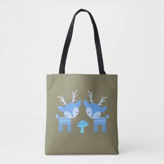 Blaue Rotwild-Pilz-Taschen-Tasche Tasche