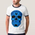 Blaue Schädel-Horror-Maske T-Shirt