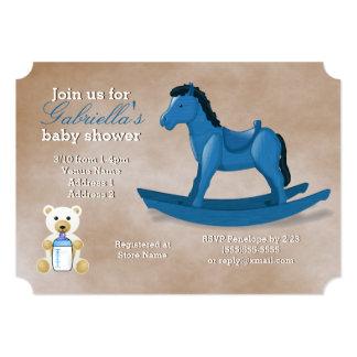 Blaue Schaukelpferd-Babyparty Karte