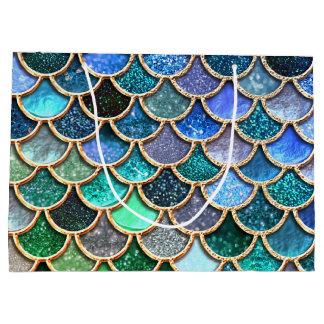 Blaue Schein-Glitzer-Meerjungfrau-Mehrfarbenskalen Große Geschenktüte