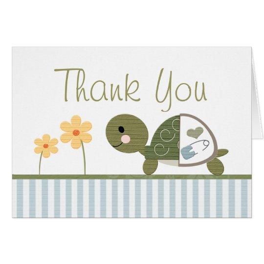 BLAUE Schildkröte in der Windel-Babyparty danken Mitteilungskarte