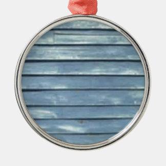 Blaue Schindel Rundes Silberfarbenes Ornament