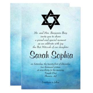Blaue Schläger Mitzvah Einladung, Watercolor, Karte