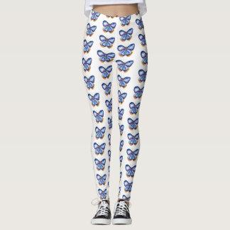 Blaue Schmetterlings-Kunst-Gewohnheits-Gamaschen Leggings