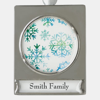 Blaue Schneeflocke-Aquarell-Kunst Banner-Ornament Silber