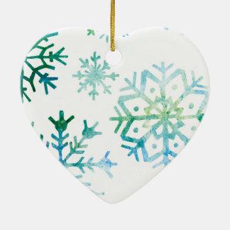Blaue Schneeflocke-Aquarell-Kunst Keramik Ornament