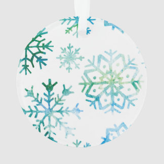 Blaue Schneeflocke-Aquarell-Kunst Ornament