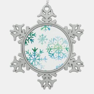 Blaue Schneeflocke-Aquarell-Kunst Schneeflocken Zinn-Ornament