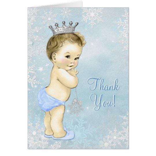 Blaue Schneeflocke-Jungen-Babyparty danken Ihnen Karte