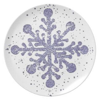 Blaue Schneeflocke-Melamin-Platte Essteller