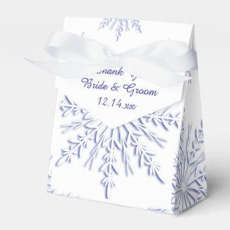 Blaue Schneeflocken auf weißer Winter-Hochzeit Geschenkschachtel
