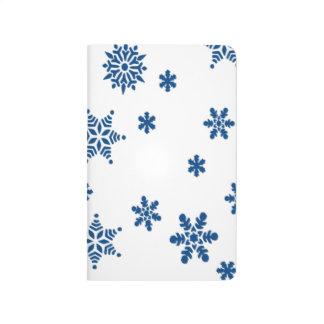 Blaue Schneeflocken Taschennotizbuch