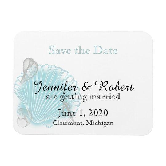 Blaue Seashell-Strand-Hochzeit Save the Date Magnet