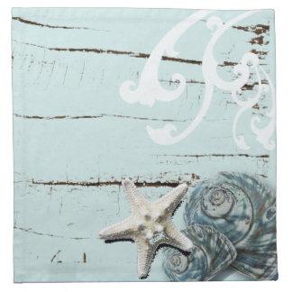 Blaue Seashells Starfish Küstenaqua der scheune Stoffserviette