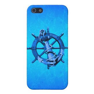 Blaue Seeschiffe Rad und Anker iPhone 5 Schutzhülle