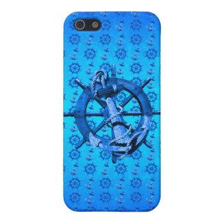 Blaue Seeschiffe Rad und Anker iPhone 5 Schutzhüllen