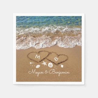 Blaue Seewellen und Sand-Herz-tropische Hochzeit Serviette