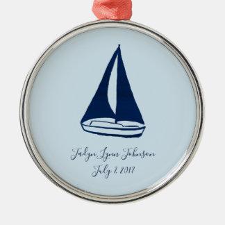 Blaue Segelboot-Baby-Verzierung Silbernes Ornament