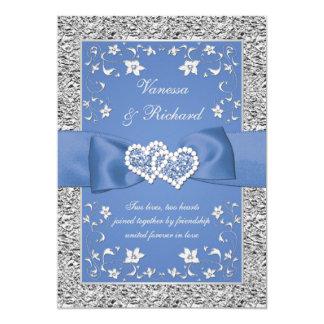 Blaue silberne Blumenherzen IMITAT Folien-Hochzeit Karte