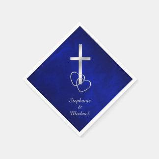 Blaue silberne christliche Querhochzeit Servietten