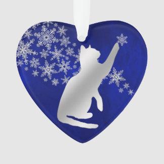 Blaue silberne Schneeflocke-spielerische Katze Ornament