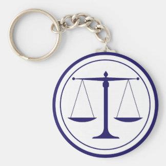 Blaue Skalen der Gerechtigkeits-Silhouette Schlüsselanhänger