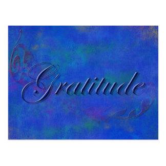Blaue Skript-Dankbarkeits-Postkarte Postkarte