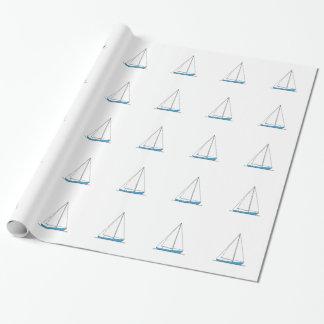 Blaue Sloop Segelboote Geschenkpapier