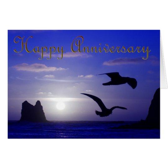 blaue Sonnenuntergang-Silhouette-Jahrestagskarte Karte