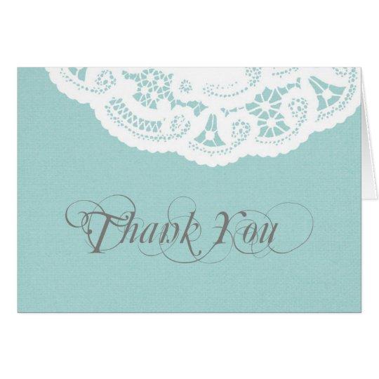 Blaue Spitzedoily-Hochzeit danken Ihnen Mitteilungskarte