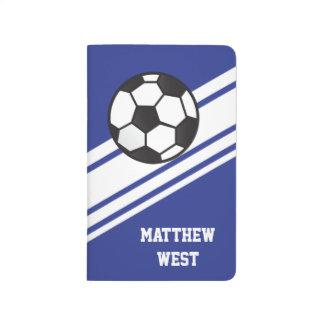 Blaue sportliche Streifen-personalisierte Taschennotizbuch