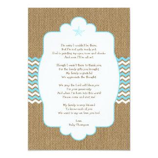 Blaue Starfishjungen-Babyparty danken Ihnen Karte