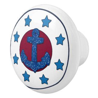 Blaue Sterne des Imitat-blaue Glitter-Anker-  Keramikknauf
