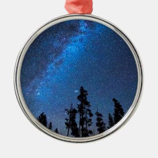 Blaue sternenklare Nacht Silbernes Ornament