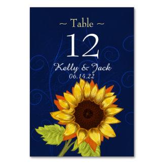blaue stilvolle Sonnenblumetabellenkarte Karte