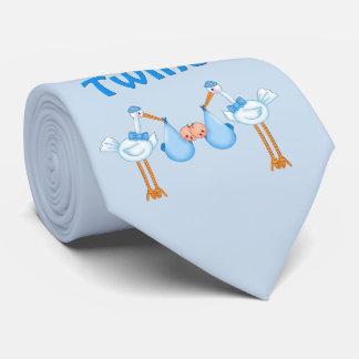 Blaue Storch-Doppeljungen Bedruckte Krawatten