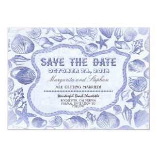 blaue Strandhochzeit der Seashells Save the Date 11,4 X 15,9 Cm Einladungskarte