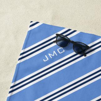 blaue Streifen des Monogramm-3-Letter Strandtuch