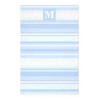 Blaue Streifen des Monogrammbabys Briefpapier