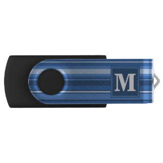 Blaue Streifen des Monogramms Swivel USB Stick 2.0