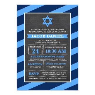 Blaue Streifen-Tafel-Bar Mitzvah Einladungen