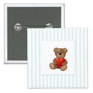 Blaue Streifen - Teddybär mit Valentinsgruß-Herzen Quadratischer Button 5,1 Cm
