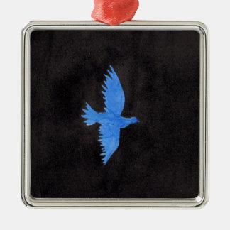 Blaue Taube Quadratisches Silberfarbenes Ornament
